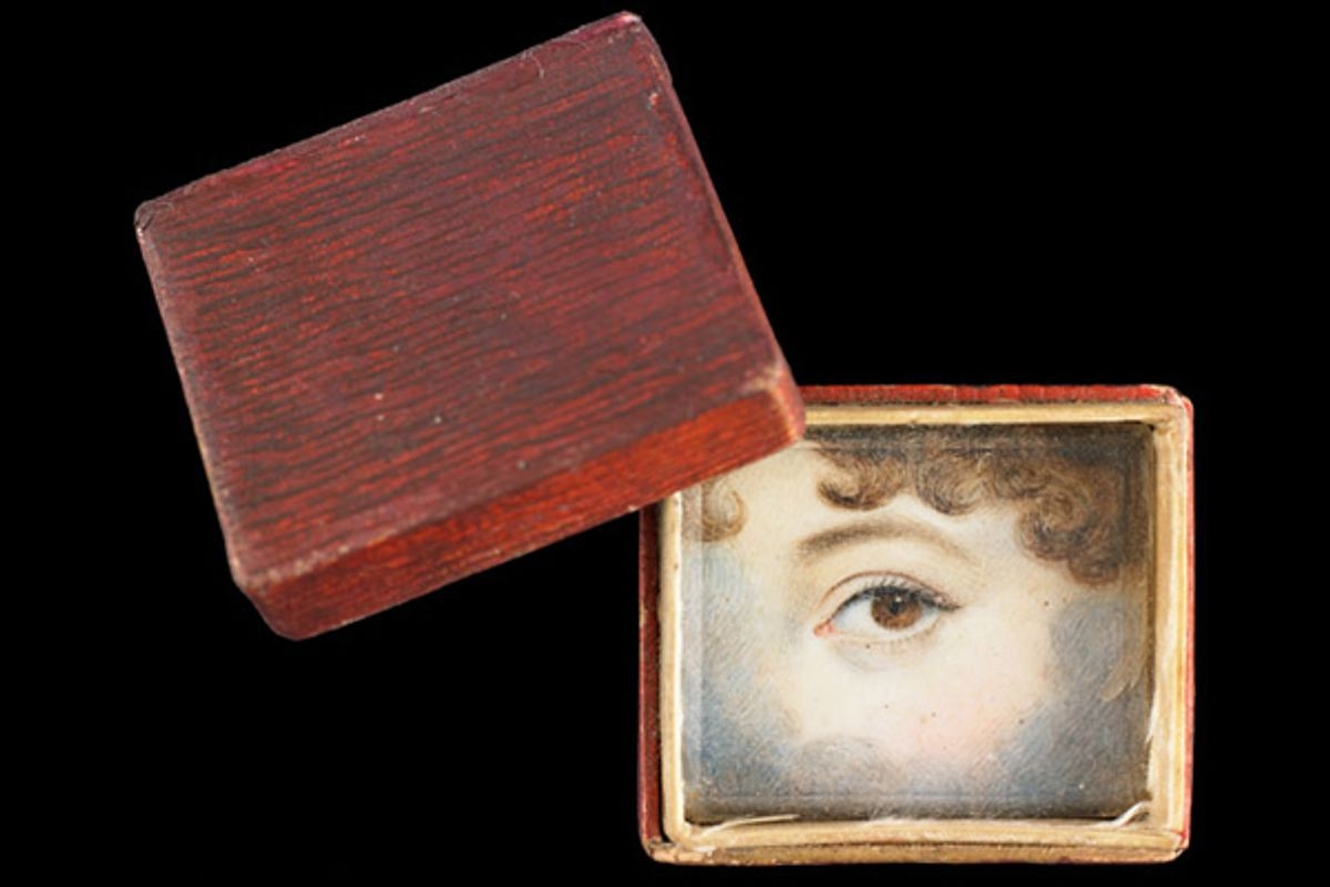 """A """"memory box"""" made of embossed and painted paper containing eye miniature, ca. 1830.  (Skier Collection)"""