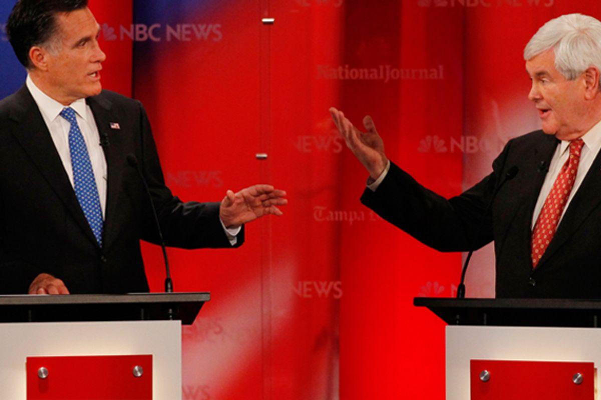 Mitt Romney and Newt Gingrich    (Reuters/Scott Audette)