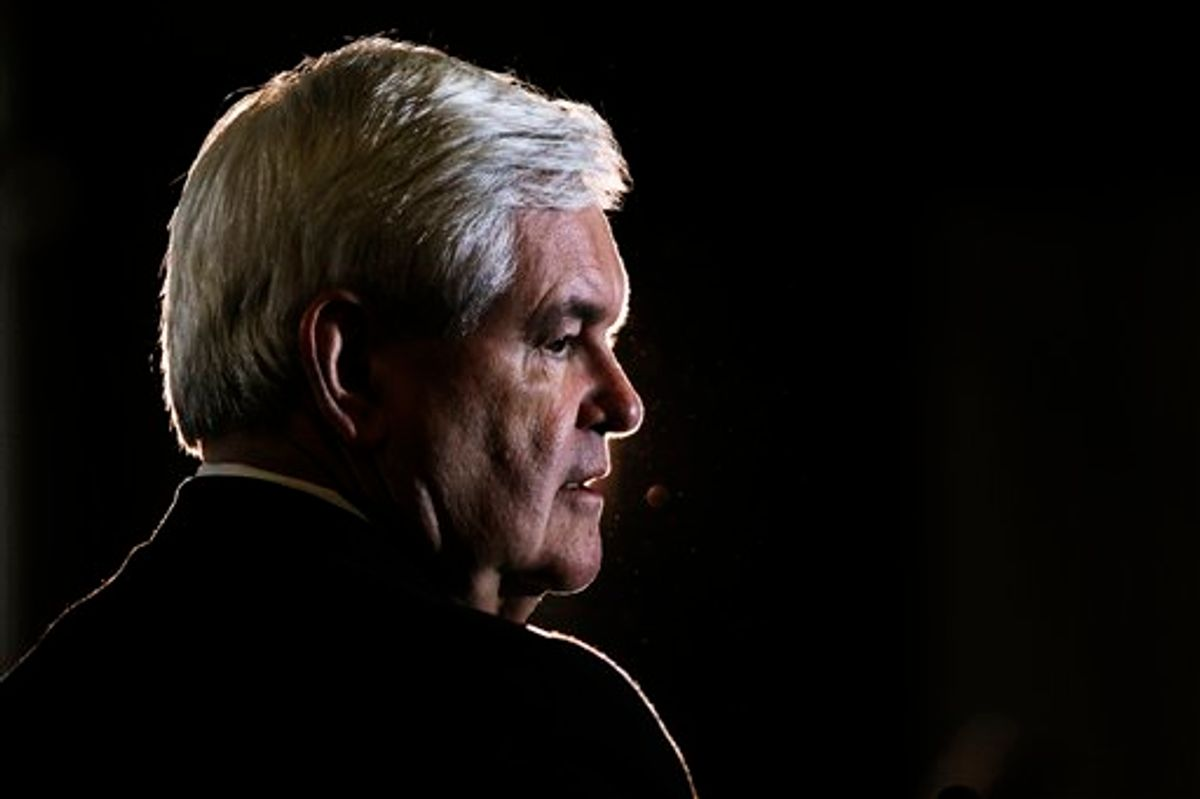 Republican presidential candidate, former House Speaker Newt Gingrich speaks, Monday, Jan. 30, 2012, in Pensacola, Fla. (AP Photo/Matt Rourke)    (AP)