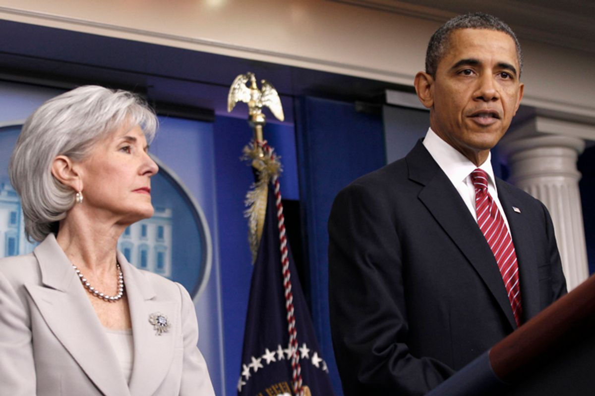 President Barack Obama, accompanied by Health and Human Services Secretary  Kathleen Sebelius, announces the revamp of his contraception policy       (AP/Pablo Martinez Monsivais)