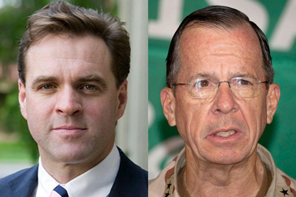 "Pro-war historian Niall Fergusson and Joint Chiefs of Staff Chairman Adm. Mike Mullen      (<a href=""http://nsb.com/speakers/view/niall-ferguson"">nsb.com</a>/AP)"