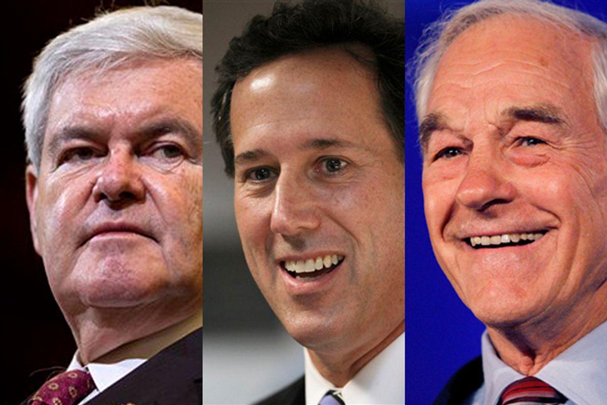 Newt Gingrich, Rick Santorum, Ron Paul       (AP/Reuters)
