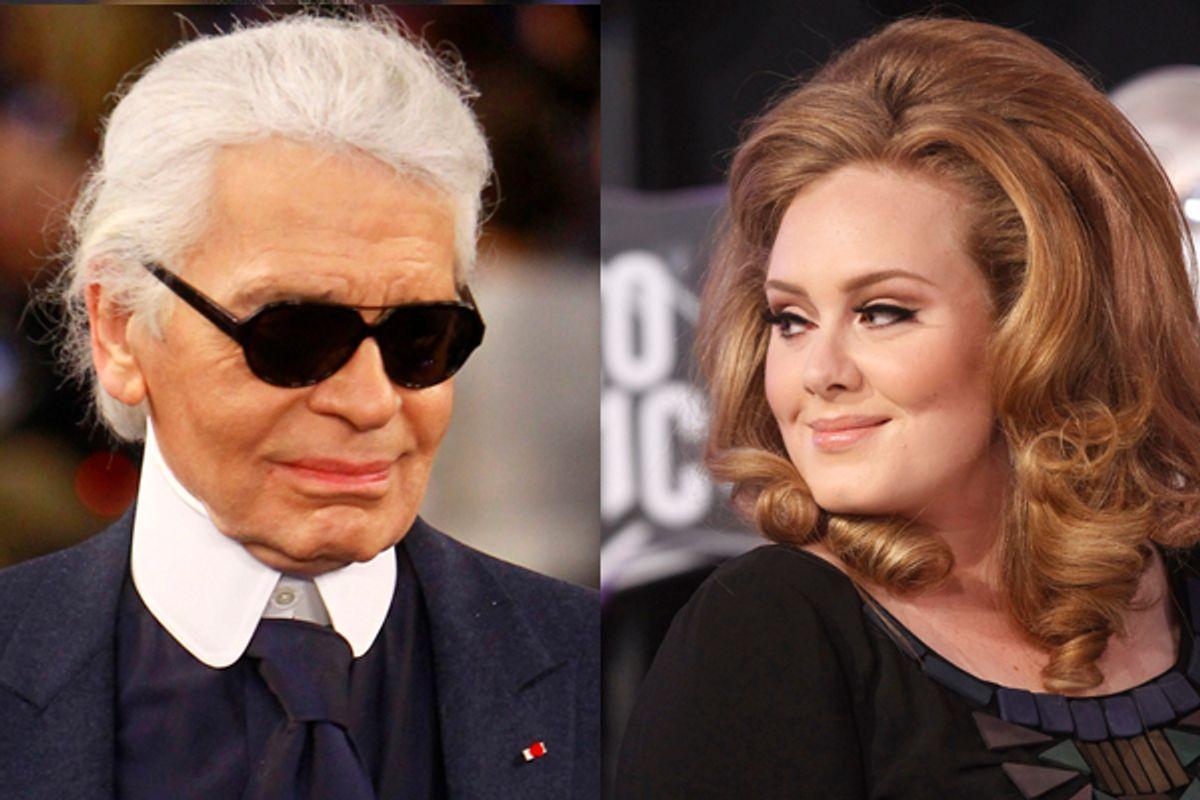 Karl Lagerfeld and British singer Adele    (AP/Reuters)