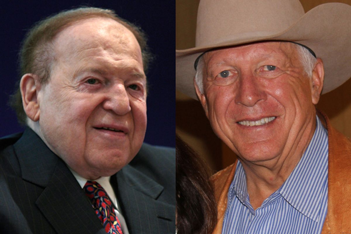 Sheldon Adelson and Foster Friess    (Reuters/<span about='http://www.flickr.com/photos/resolutemediagroup/6329772504/' xmlns:cc='http://creativecommons.org/ns#'><a href='http://www.flickr.com/photos/resolutemediagroup/6329772504/' rel='cc:attributionURL' target='_blank'>Voices To Action with Alice Linahan</a> / <a href='http://creativecommons.org/licenses/by/3.0/' rel='license' target='_blank'>CC BY 3.0</a></span>)