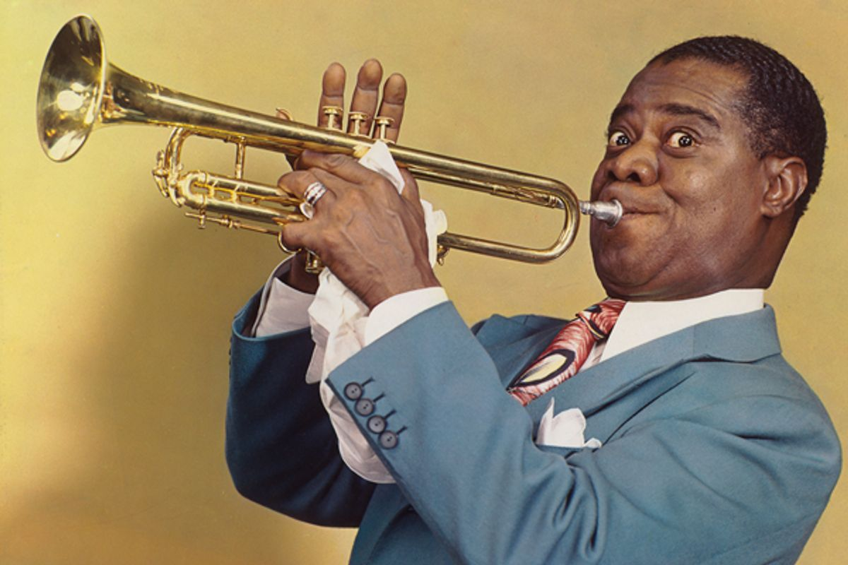 """Harry Warnecke and Gus Schoenbaechler, """"Louis Armstrong,"""" 1947.    (National Portrait Gallery, Smithsonian Institution; gift of Elsie M. Warnecke © 2012 Daily News, LP (New York Daily News))"""