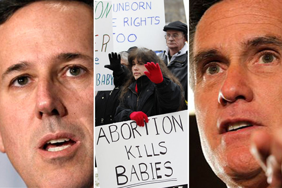 Rick Santorum and Mitt Romney       (AP)