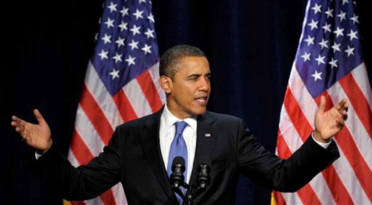 President Barack Obama speaks during a fundraiser at the Biltmore Hotel in Coral Gables, Fla., Thursday, Feb. 23, 2012. (AP Photo/Susan Walsh)         (AP)