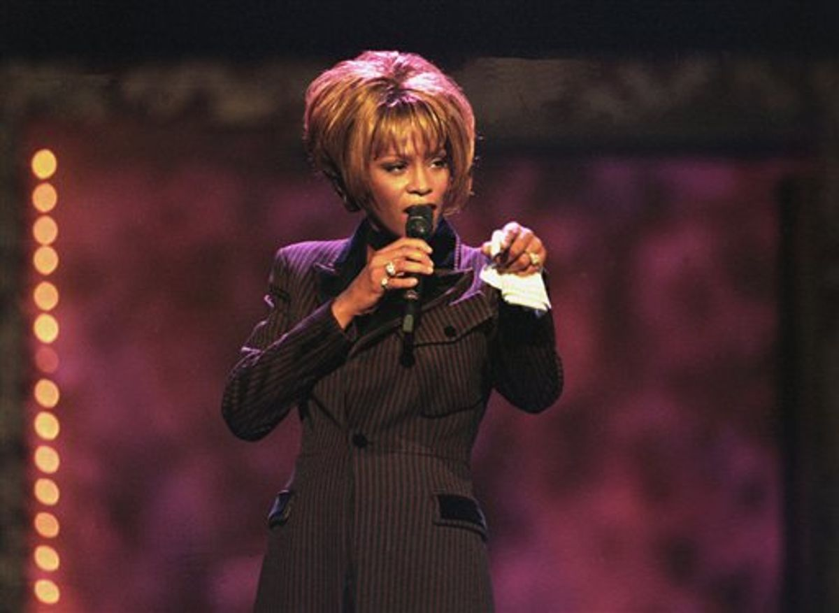 Whitney Houston performs during the Billboard Awards at the MGM Grand in Las Vegas on Dec. 7, 1998.       (AP)