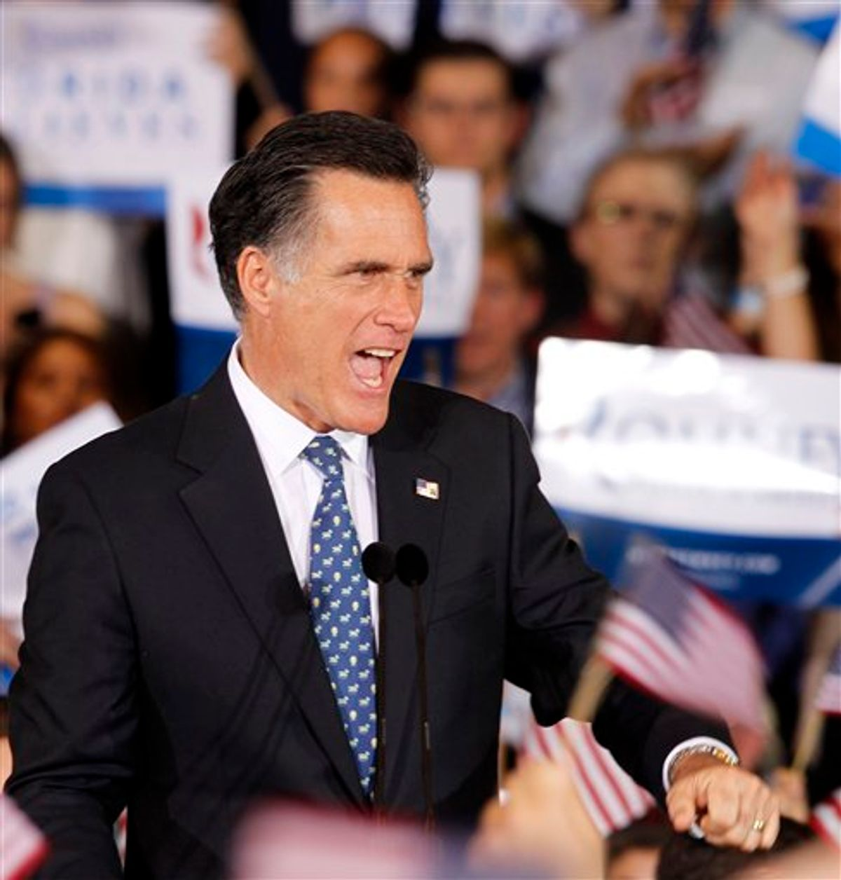 Republican presidential candidate, former Massachusetts Gov. Mitt Romney, reacts to supporters at his Florida primary primary night rally in Tampa, Fla., Tuesday, Jan. 31, 2012. (AP Photo/Gerald Herbert)         (AP)