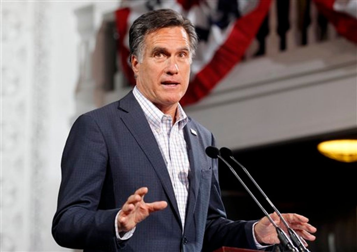 Republican presidential candidate, former Massachusetts Gov. Mitt Romney speaks at his Colorado caucus night rally in Denver, Tuesday, Feb. 7, 2012. (AP Photo/Gerald Herbert)     (AP)