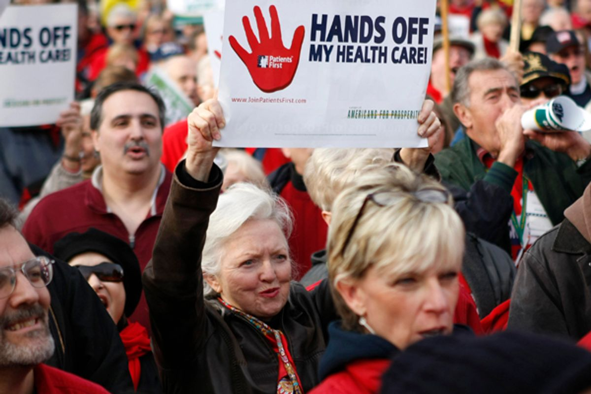 Demonstrators protest against the healthcare bill outside the Capitol in Washington on Dec. 15, 2009.                                  (Kevin Lamarque / Reuters)