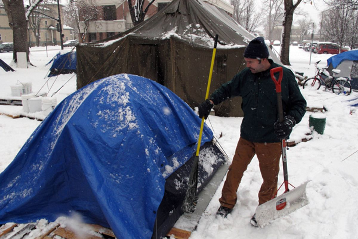 Occupy Boise is under legal and meteorological siege.    (AP/John Miller)