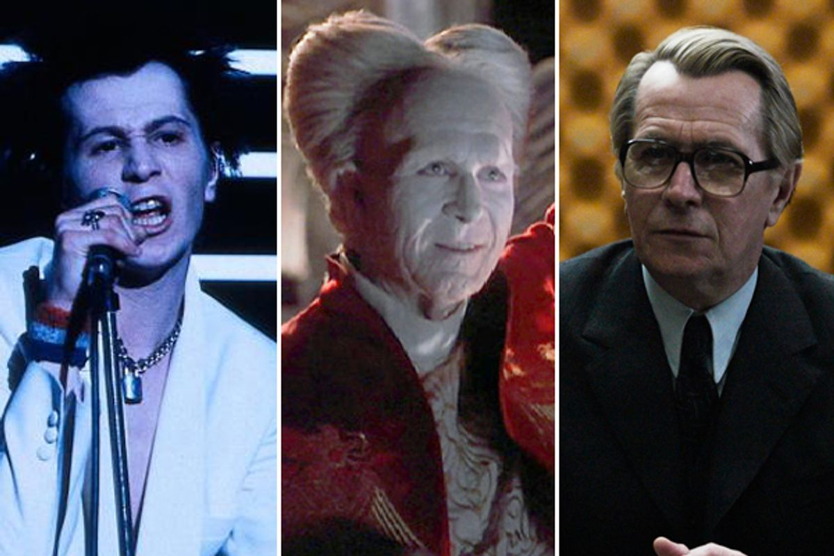 Gary Oldman as Sid Vicious, Count Dracula and George Smiley