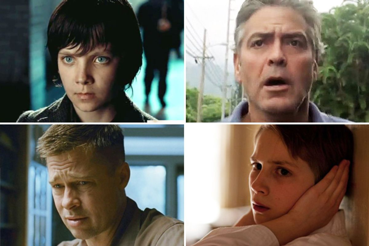 """Clockwise from upper left: Asa Butterfield in """"Hugo,"""" George Clooney in """"The Descendants,"""" Thomas Horn in """"Extremely Loud and Incredibly Close"""" and Brad Pitt in """"The Tree of Life"""""""