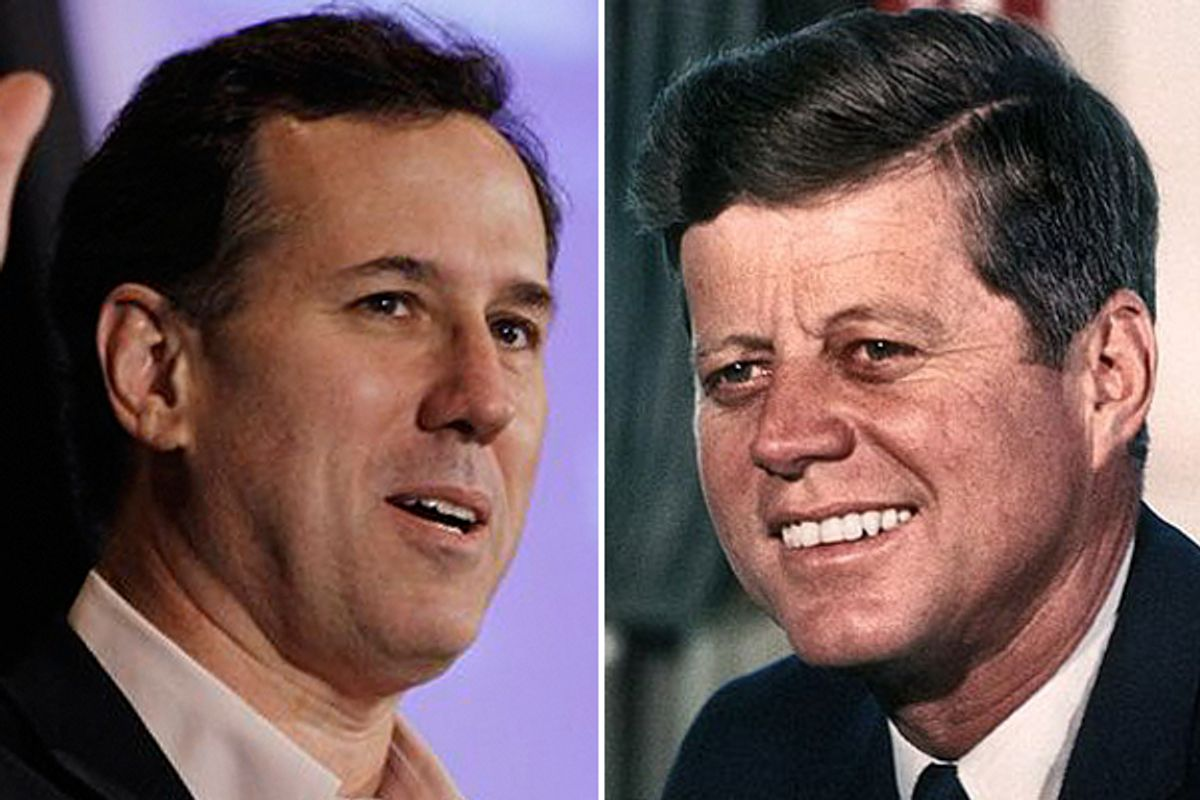 Rick Santorum and John F. Kennedy     (AP/Wikipedia)