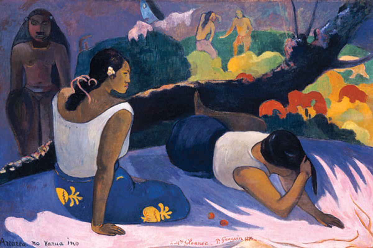 "Paul Gauguin, ""Arearea no Varua ino (Words of the Devil, or Reclining Tahitian Women),"" 1894. (Ny Carlsberg Glyptotek, Copenhagen)"