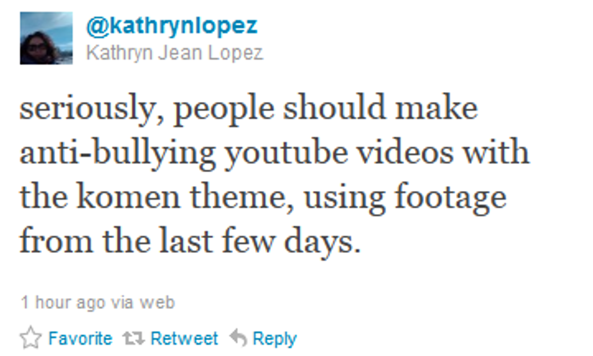 A very serious anti-bullying message from Kathryn Jean Lopez