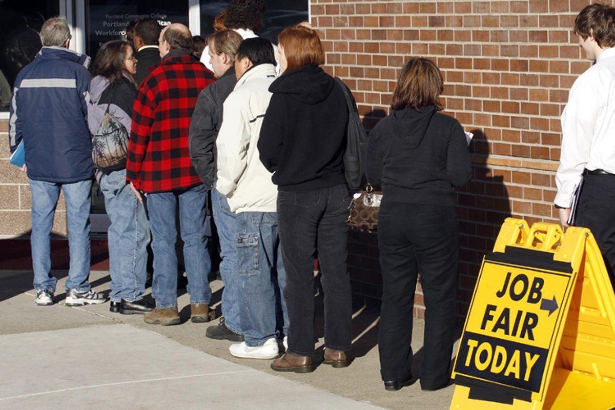People waiting in line at a job fair in Portland, Ore.       (AP/Rick Bowmer)