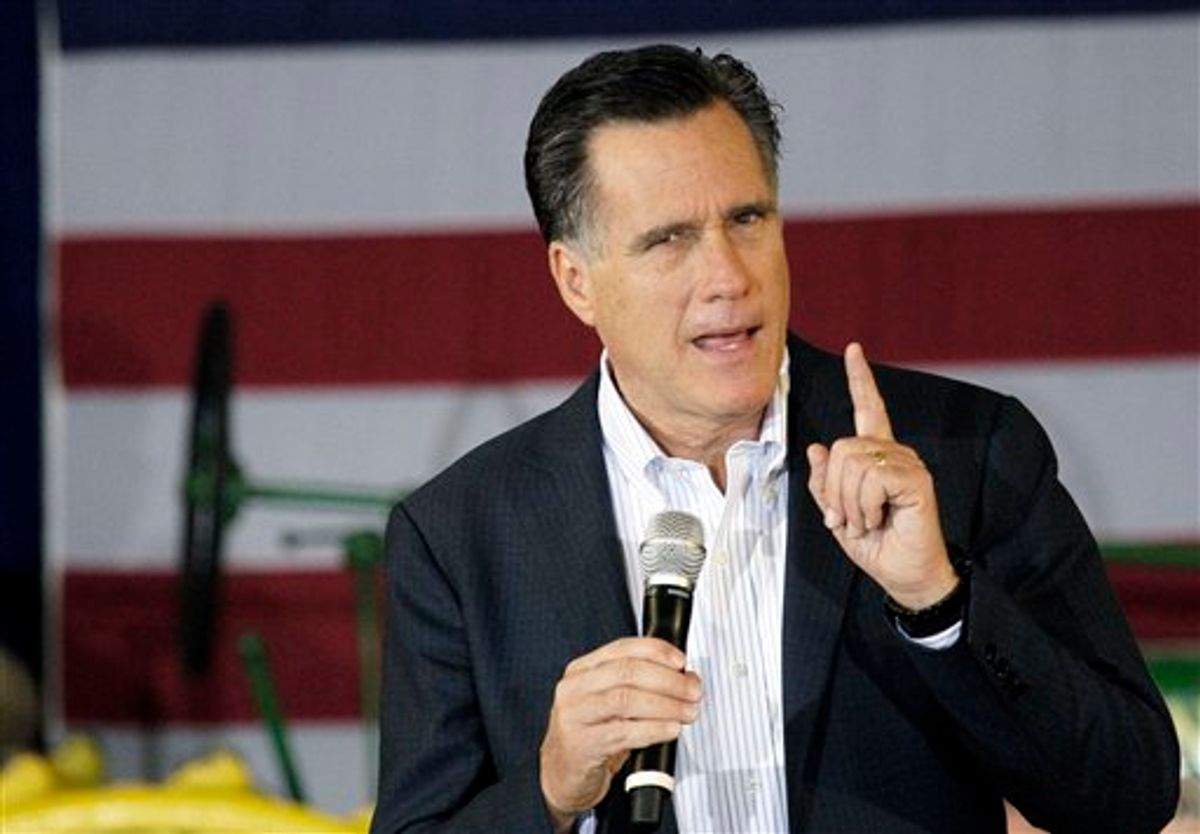 Republican presidential candidate, former Massachusetts Gov. Mitt Romney speaks at the Mississippi Farmers Market in Jackson, Miss., Friday, March 9, 2012. (AP Photo/Rogelio V. Solis)   (AP)