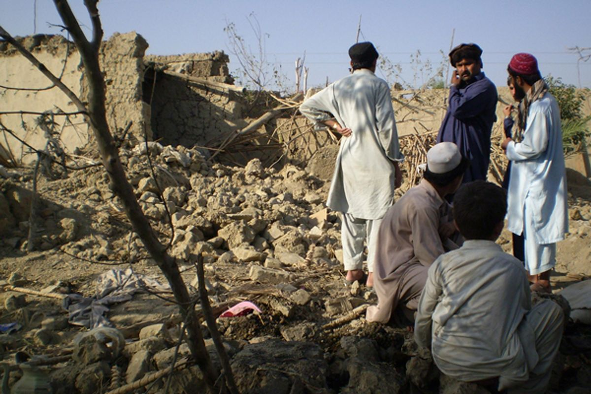 The site of a drone attack near Miranshah, Pakistan, in October 2008.       (Reuters/Haji Mujtaba)
