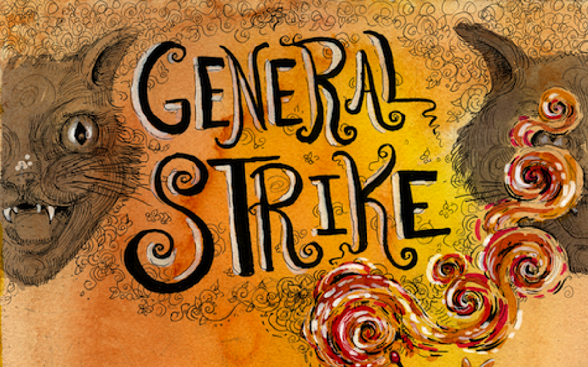 A detail from a poster promoting May 1. General Strike         (Molly Crabapple and John Leavitt)