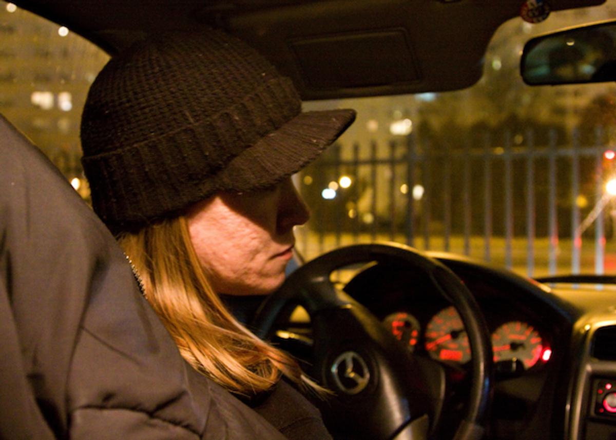 Laura in her car in Philadelphia   (Jessica M. Kaufman)