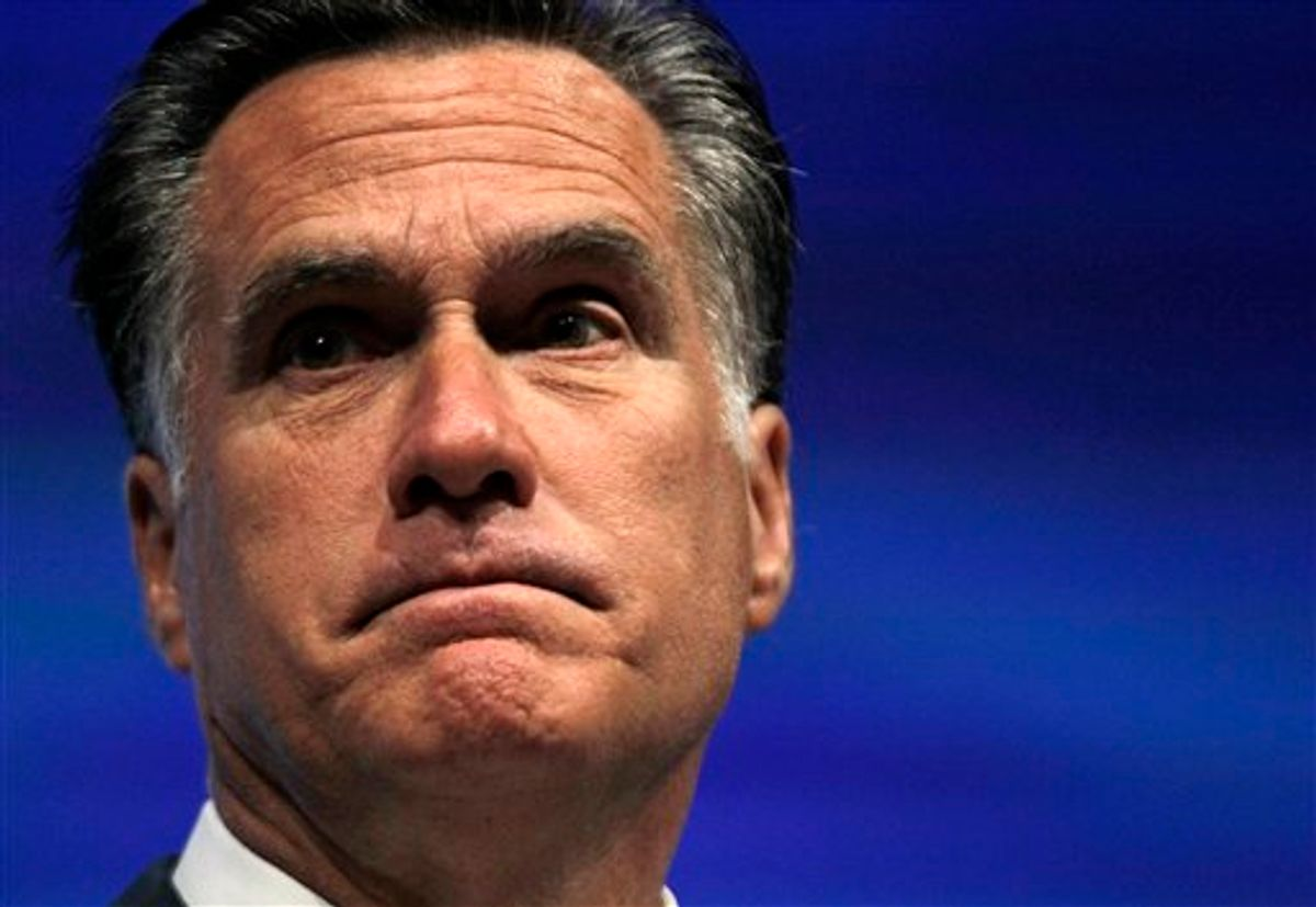 Republican presidential candidate, former Massachusetts Gov. Mitt Romney speaks at the National Rifle Association convention in St. Louis, Friday, April 13, 2012. (AP Photo/Michael Conroy)       (AP)