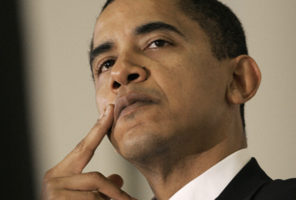 In this March 10, 2006, file photo, U.S. Sen. Barack Obama, D-Illinois, listens during a Democratic rally in Burlington, Vt.   (AP Photo/Toby Talbot, File)