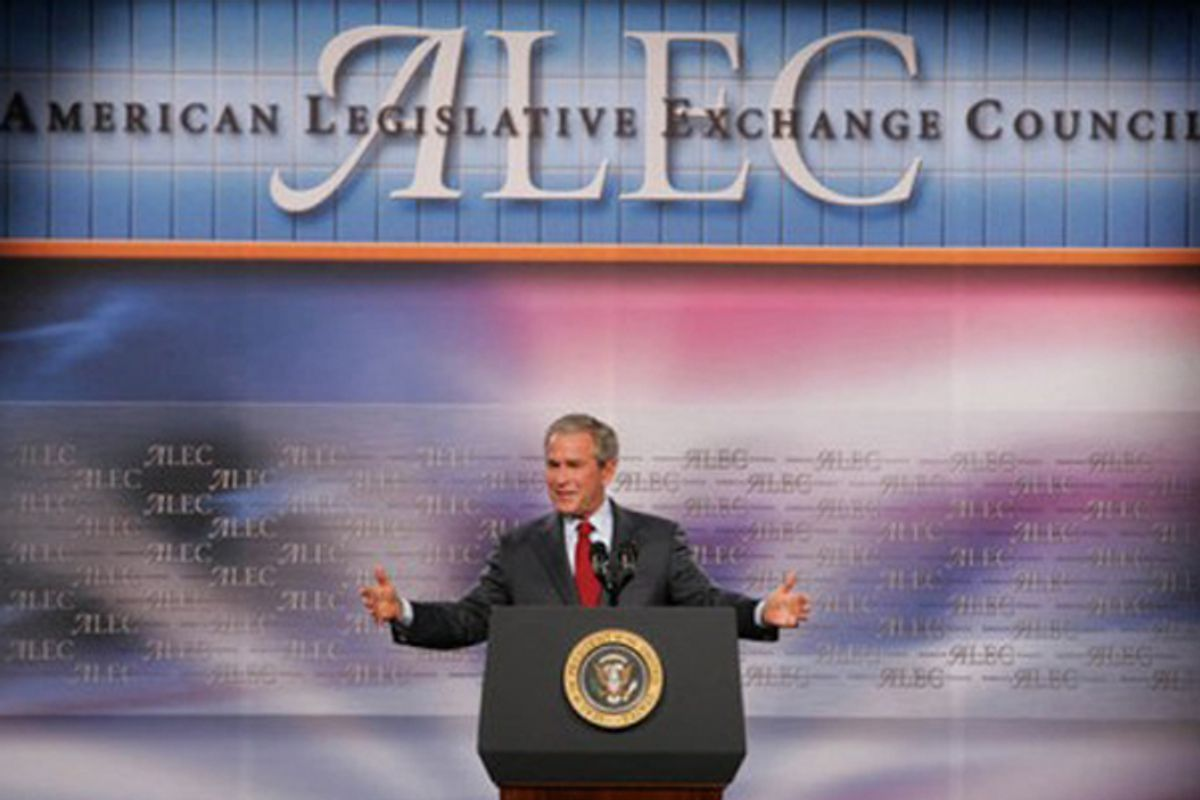 George W. Bush speaks to the American Legislative Exchange Council in Philadelphia in 2007.    (Chris Greenberg)