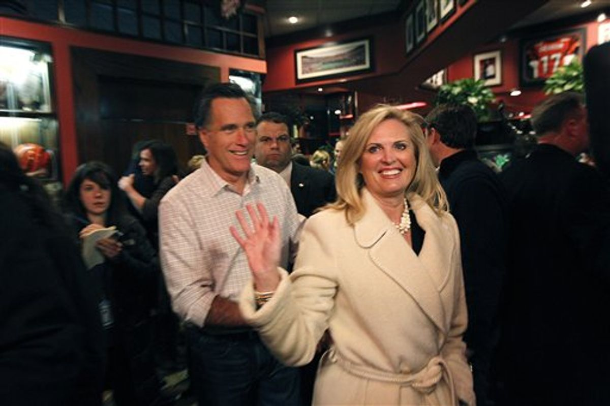 Republican presidential candidate, former Massachusetts Gov. Mitt Romney and his wife Ann greet patrons at the Montgomery Inn in Cincinnati, Ohio, Saturday, March 3, 2012. Mitt Romney stepped out to a solid lead over his Republican presidential rivals Saturday night in Washington state caucuses, a quiet prelude to 10 Super Tuesday contests next week in all regions of the country. (AP Photo/Gerald Herbert)            (AP)