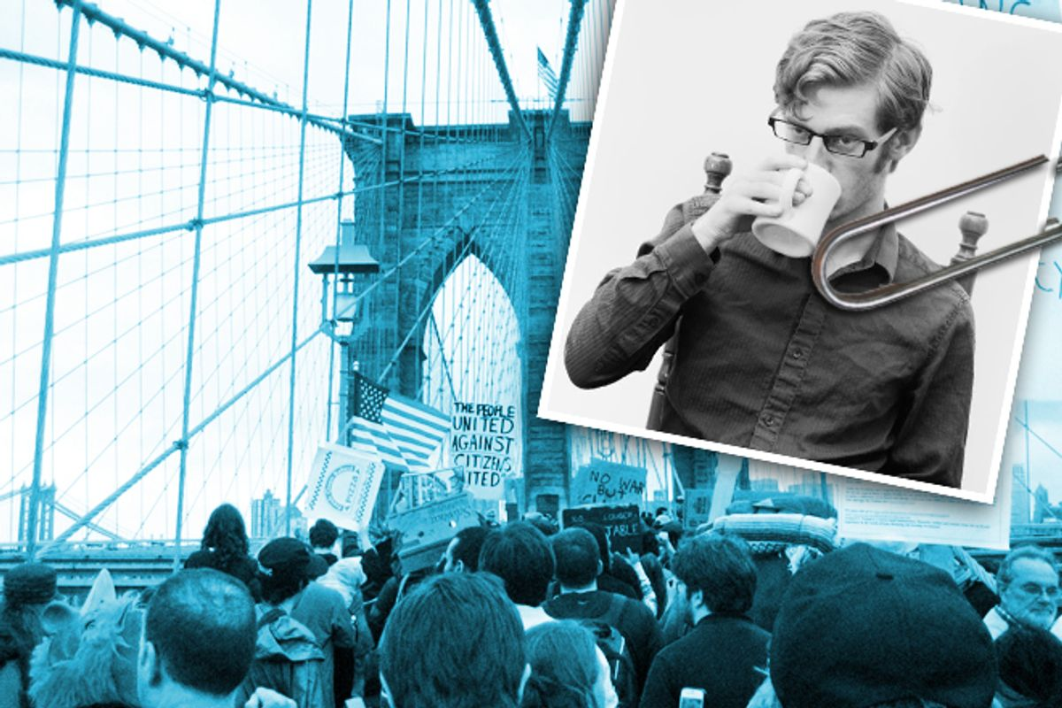 Malcolm Harris (inset) and Occupy Wall Street protesters on the Brooklyn Bridge.     (Sam Margevicius/AP/Daryl Lang)
