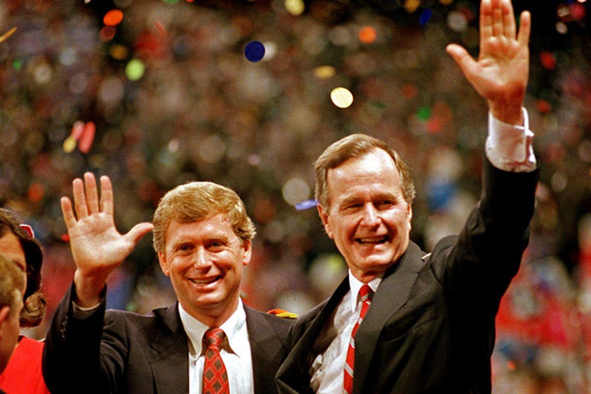 Dan Quayle and George H.W. Bush at the 1988 Republican National Convention.       (AP/J. Scott Applewhite)