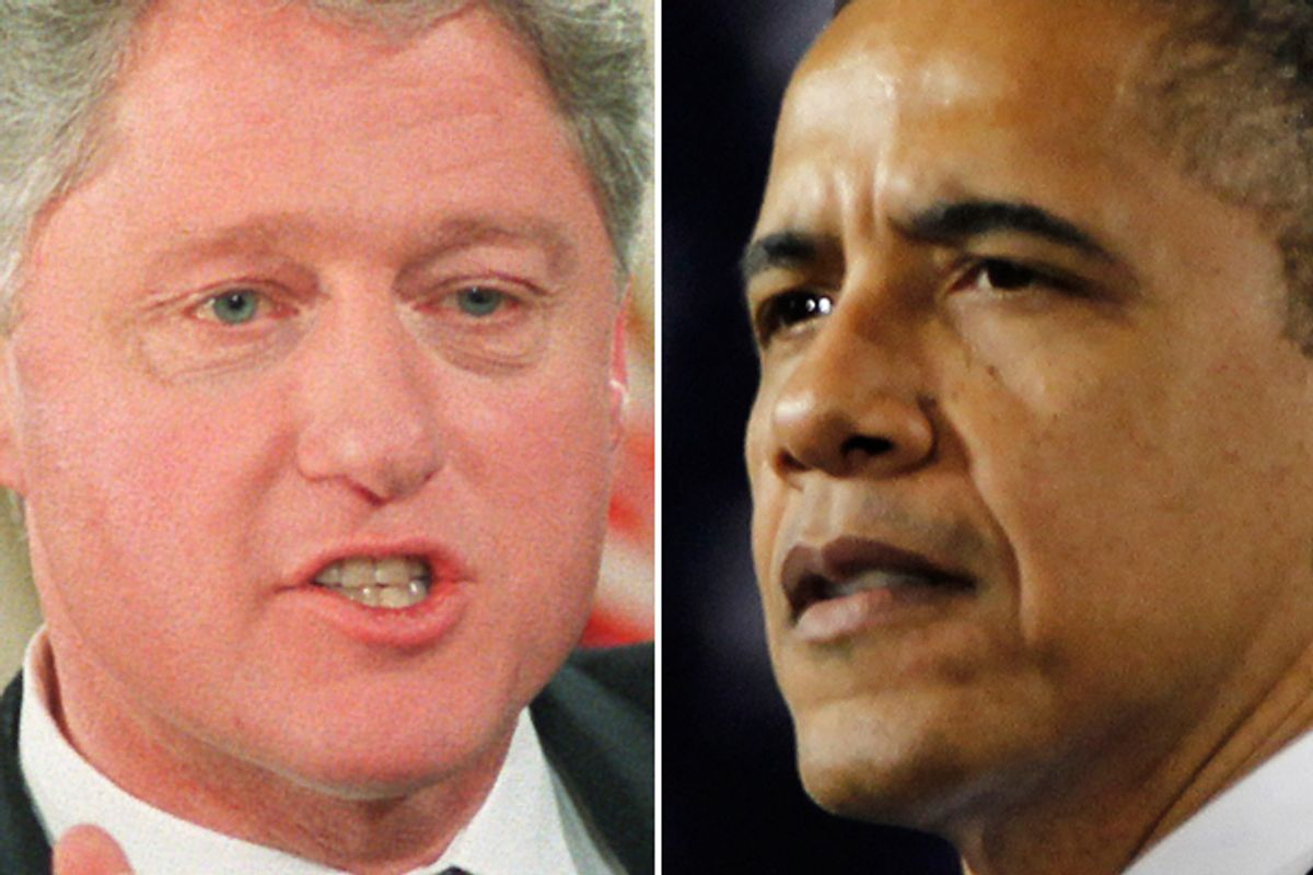 Bill Clinton in 1996 and Barack Obama   (AP)