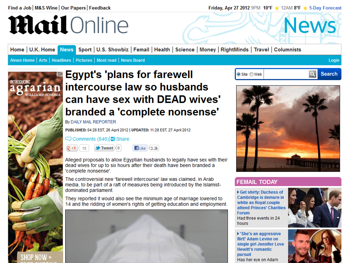 The (now updated) Daily Mail story that launched the necrophilia myth   (Daily Mail)