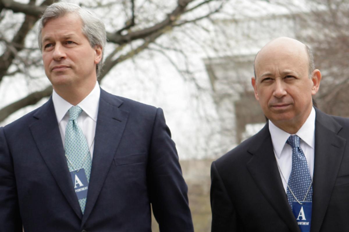 JPMorgan CEO Jamie Dimon and Goldman Sachs CEO Lloyd Blankfein         (AP/Evan Vucci)