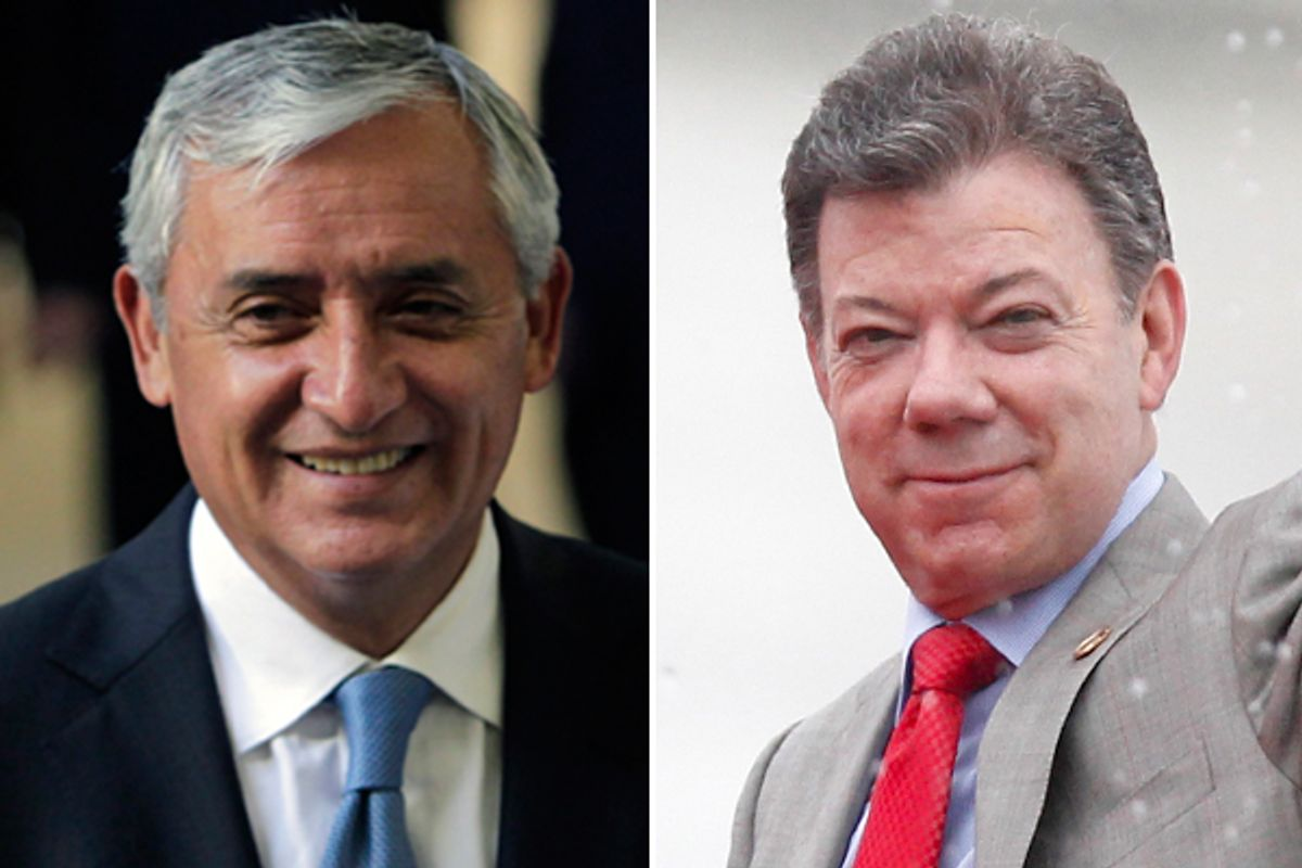Drug warriors no more: Guatemalan president Otto Perez Molina and Colombian president Juan Manuel Santos