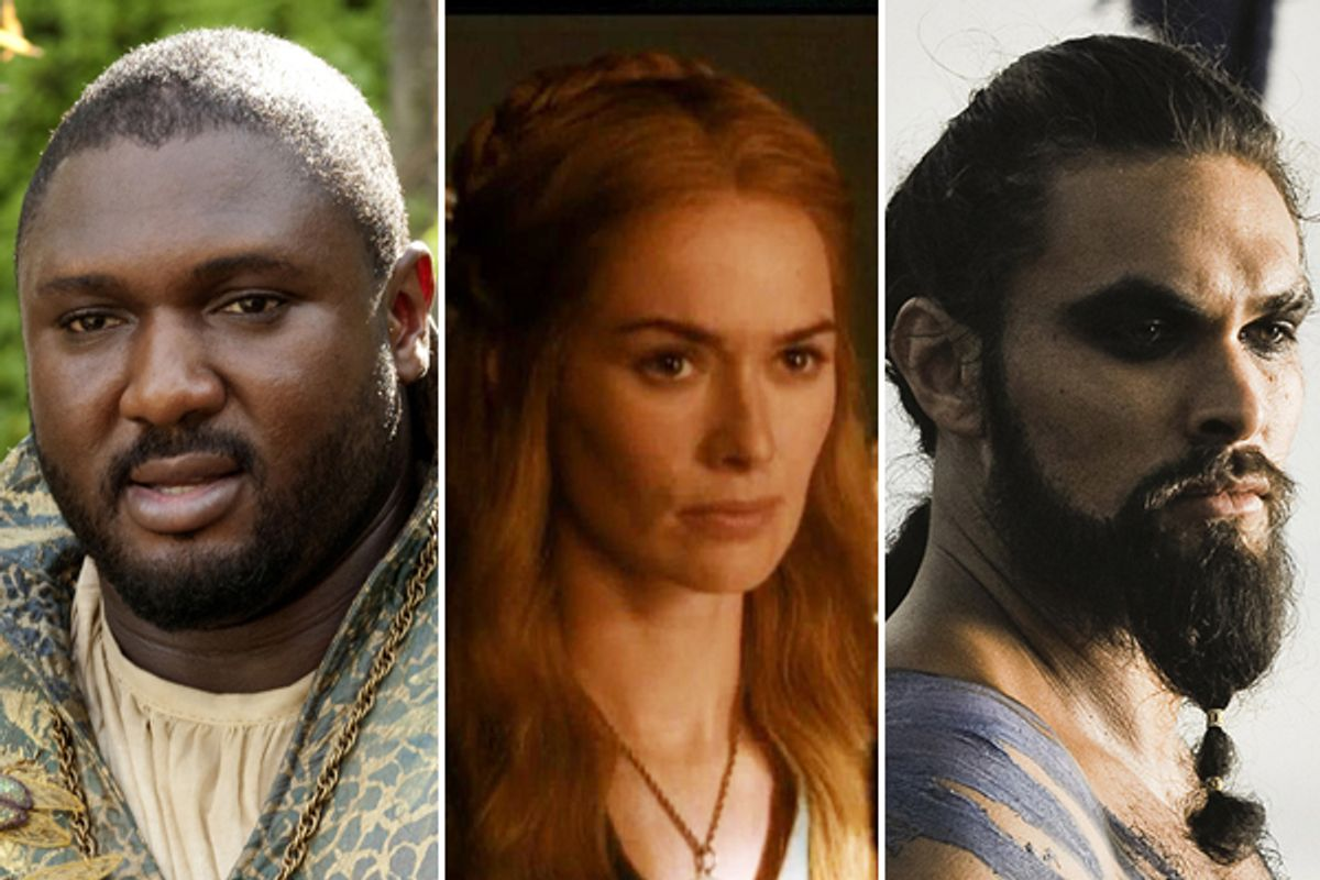 """Nonso Anozie, Lena Headey and Jason Momoa in """"Game of Thrones"""""""