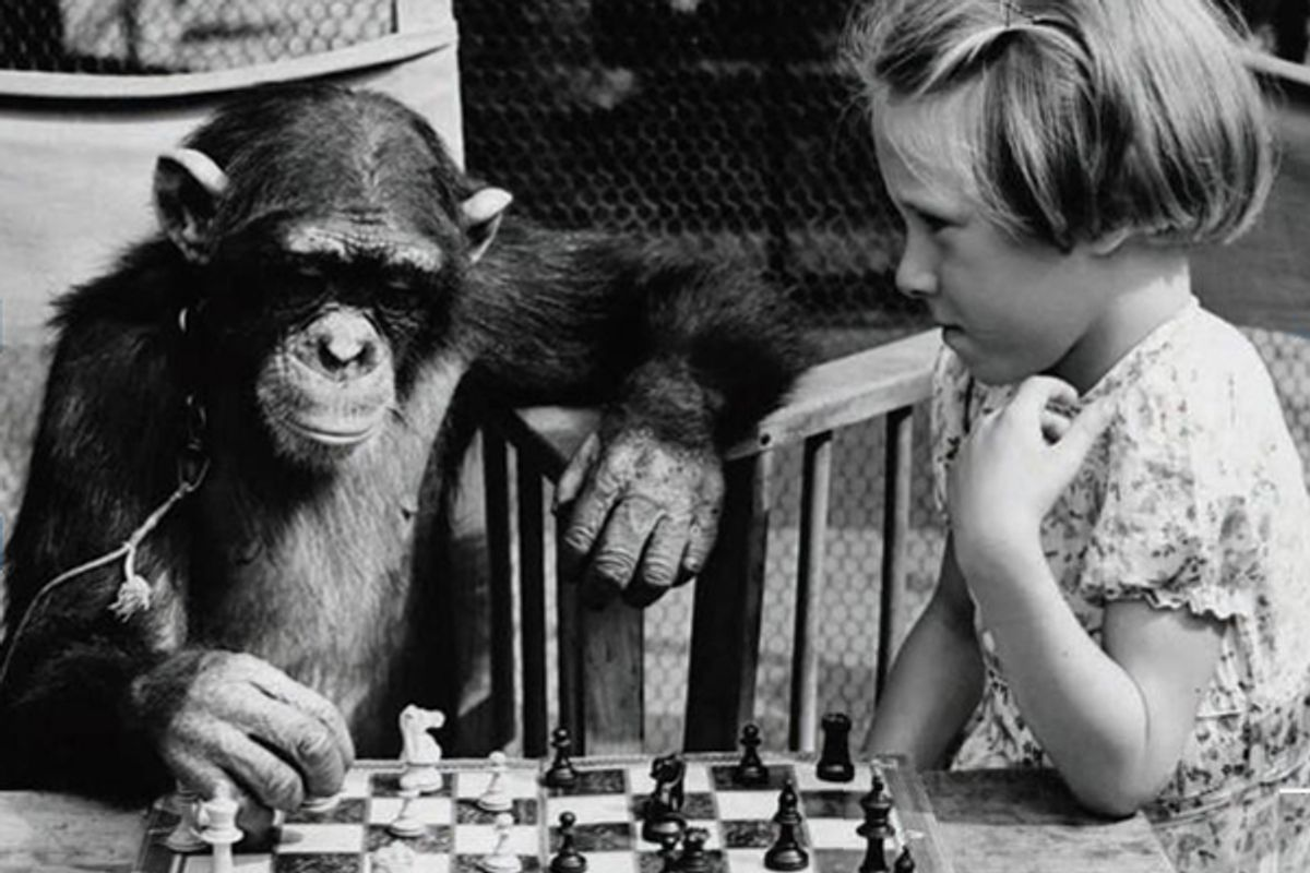 """A detail from the cover of """"Games Primates Play: An Undercover Investigation of the Evolution and Economics of Human Relationships"""""""