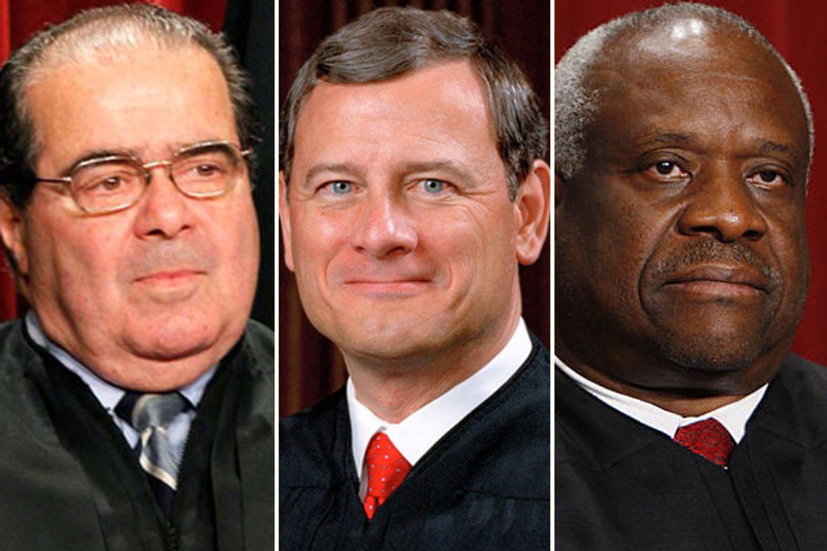 Antonin Scalia, John Roberts and Clarence Thomas