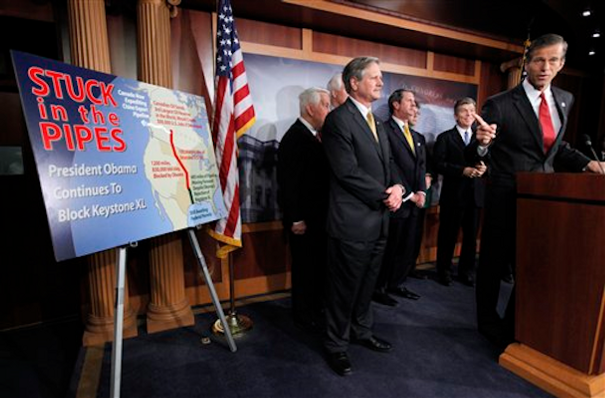 Sen. John Thune, R-S.D., right, speaks about the Keystone XL pipeline during a news conference on Capitol Hill in Washington, Thursday, March 22, 2012        (AP Photo/Charles Dharapak)