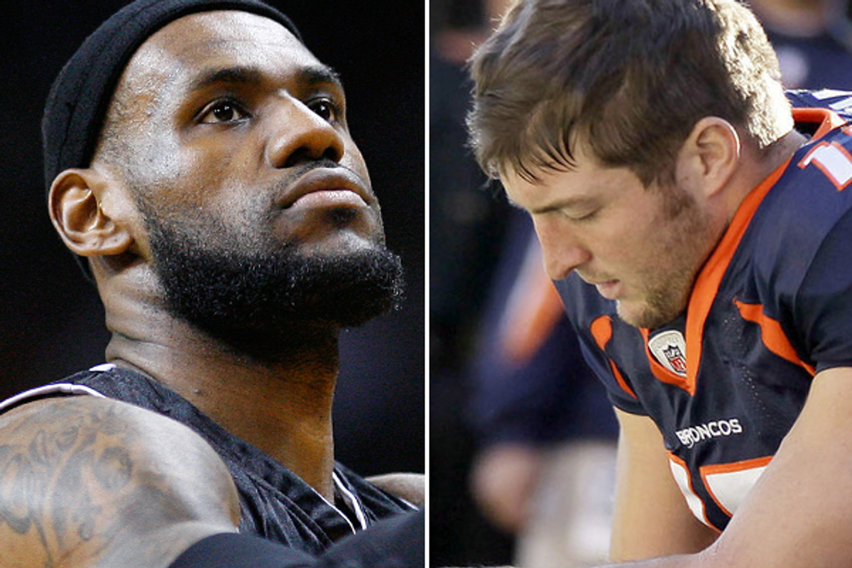 LeBron James and Tim Tebow         (Reuters/AP)