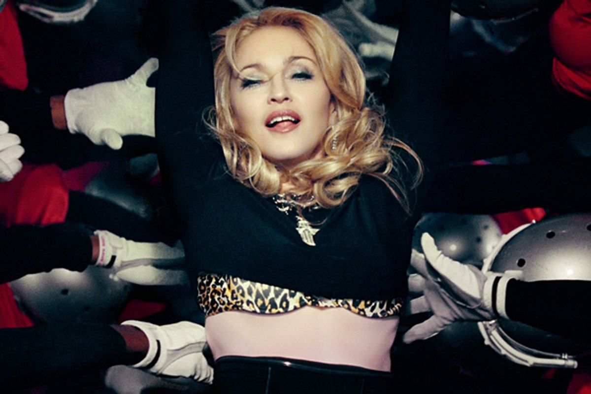 """A still from Madonna's """"Gimme All Your Luvin'"""" video.      (<a href='http://madonna.com/'>madonna.com</a>)"""