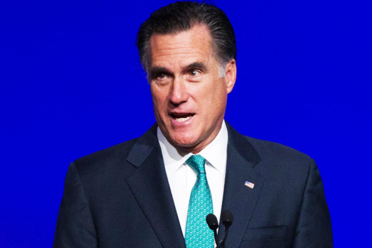 Mitt Romney speaks at the Newspapers Association of America / American Society of News Editors luncheon gathering in Washington, Wednesday, April 4.       (AP/Manuel Balce Ceneta)