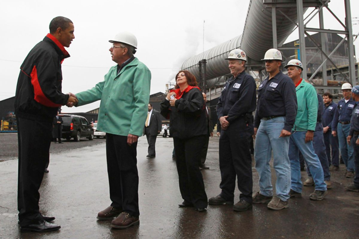 President Obama greets workers during a shift change at V&M Star in Youngstown, Ohio, in 2010.       (Reuters/Jason Reed)