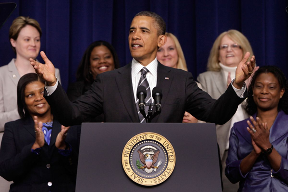 President Obama greets the audience at the White House Forum on Women and the Economy on Friday.          (Reuters/Yuri Gripas)