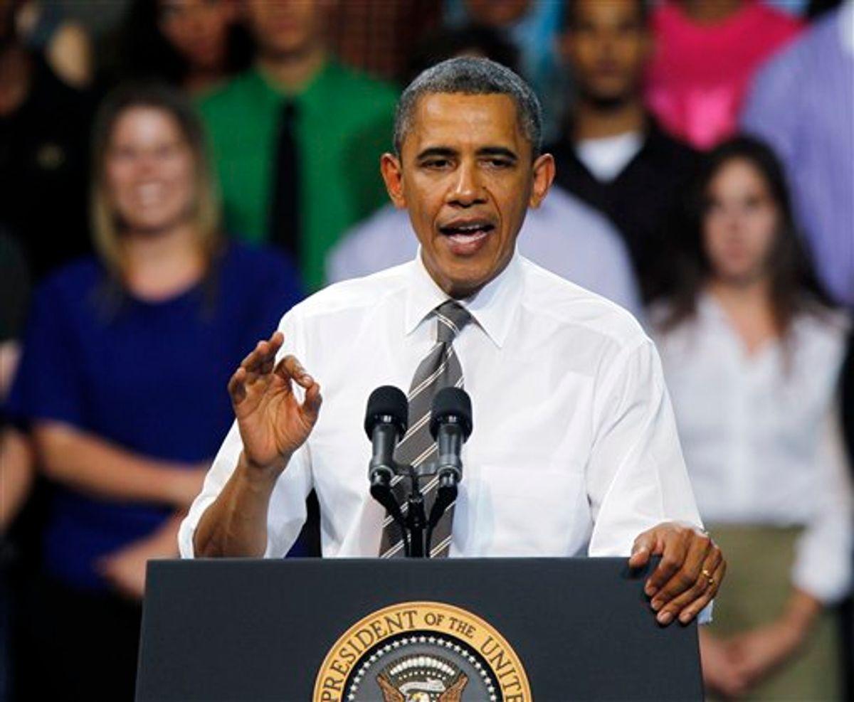 President Barack Obama addresses students at the University of Colorado Boulder in Boulder, Colo., on Tuesday, April 24, 2012. (AP Photo/Ed Andrieski)          (AP)