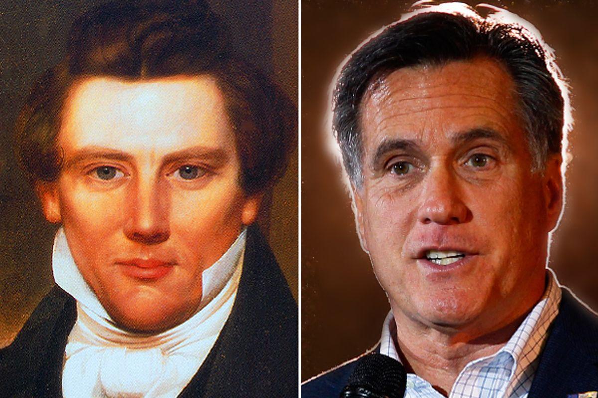 Joseph Smith and Mitt Romney      (Reuters)
