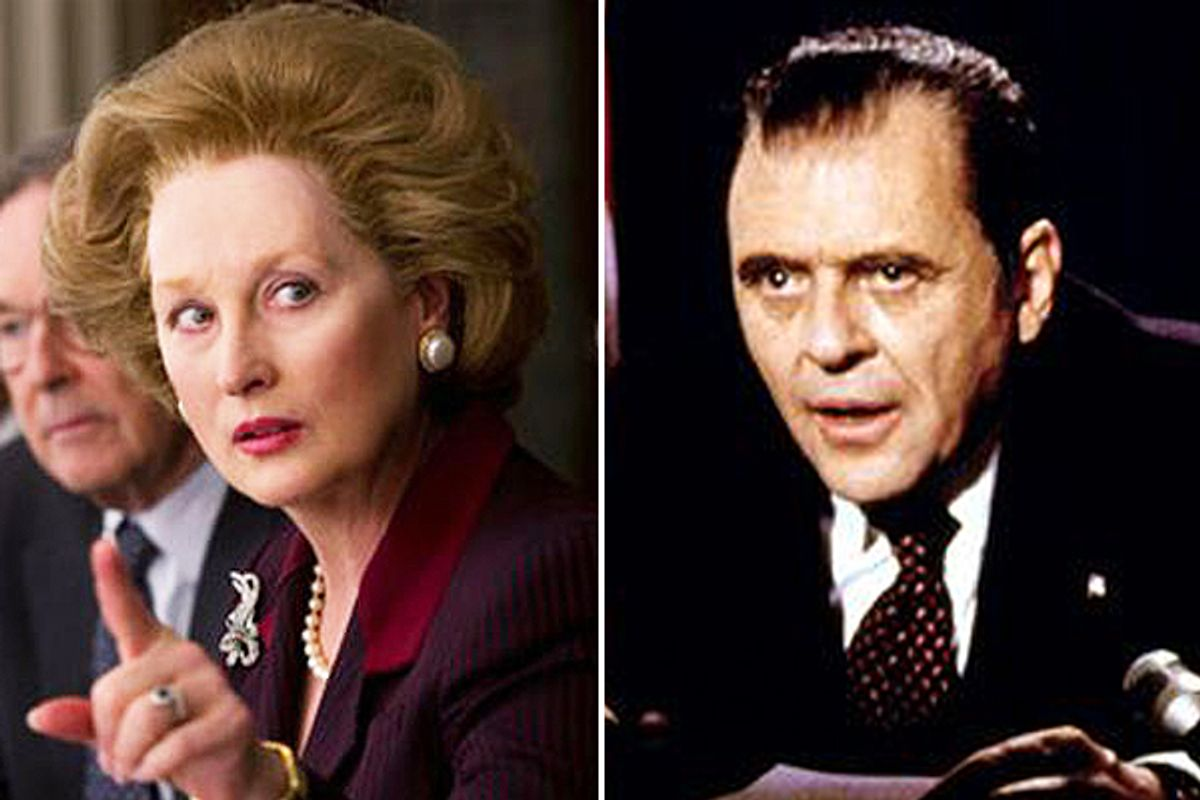"""Meryl Streep in """"The Iron Lady"""" and Anthony Hopkins in """"Nixon"""""""