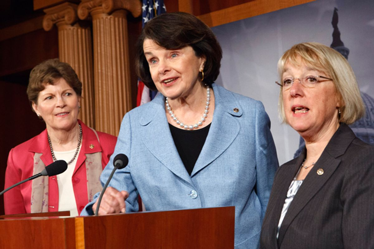 Sen. Jeanne Shaheen, D-N.H., Sen. Dianne Feinstein, D-Calif., and Sen. Patty Murray, D-Wash., talk to reporters about reauthorization of the Violence Against Women Act on Wednesday, April 18, 2012    (AP/J. Scott Applewhite)