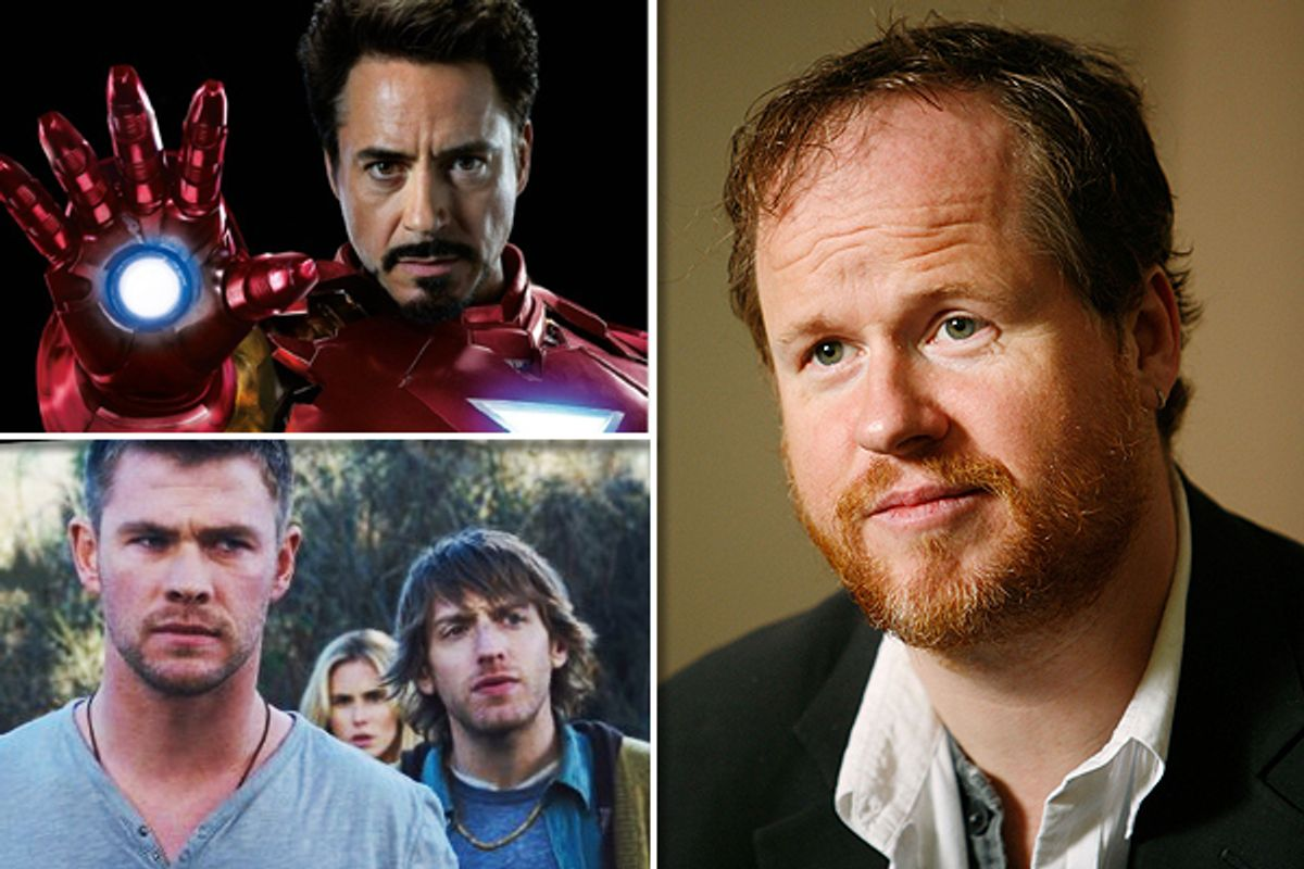 """Joss Whedon, right, and stills from """"The Avengers"""" and """"The Cabin in the Woods"""""""